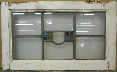 """OLD ENGLISH LEADED STAINED GLASS WINDOW Cute Geometric Design 21.75"""" x 13"""""""