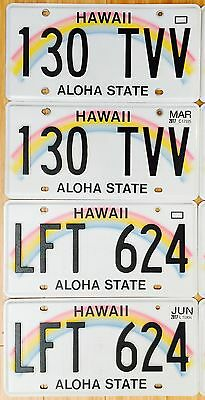 Hawaii Rainbow License Plate Aloha State - Island Driven - Excellent Pair