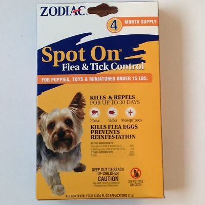Zodiac Spot On, puppys, minitures dogs, under 15#, flea and tick control, 4 pack