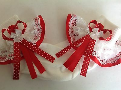 Handmade red pin spot baby/girls frilly socks various sizes
