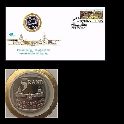 South Africa 1994 Nelson Mandela Inauguration FDC 6.3c with Proof R5 coin