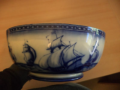 Old Antique Royal Doulton Burslem Galleon Large Fruit Salad Bowl Flow Blue White