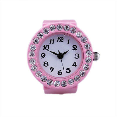 11Q4 Pink Alloy Quartz Pocket Finger Ring Watch Rhinestone Round Dial
