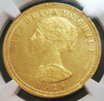 "1926 So Gold Chile 100 Pesos Coin Ngc Mint State 61 Santiago Mint  ""first Year"""