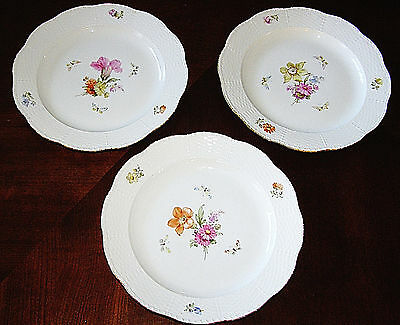 KPM Berlin (Set of 3) Hand Painted Floral & Butterflies Dinner Plates - As Is