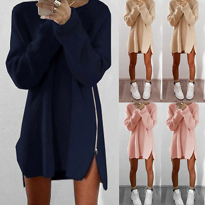 Women Zipper Casual Loose Long Sleeve Knitwear Pullover Jumper Sweater Dress