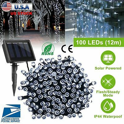 100 LED Solar Power String Fairy Garden Lawn Cool White Chirstmas Decorate Light