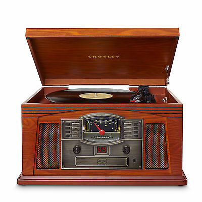 New CROSLEY LANCASTER RETRO WOODEN TURNTABLE CD CASSETTE RADIO SYSTEM
