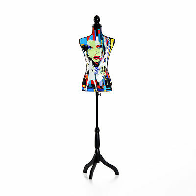 Female Mannequin Torso Dress Form Display W/ Bk Tripod Stand Colourfull Lighted