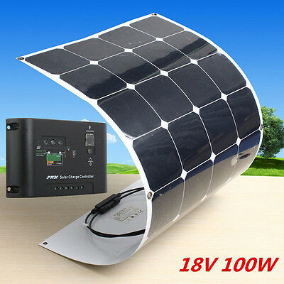 Sunpower 100W 18V Solar Panel Flexible Charger Power Generator+ Solar Controller