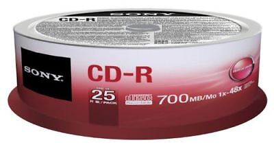 Sony CD-R 80 Minutes 700MB 1-48X Speed Recordable Blank Discs - 25 Pack Spindle