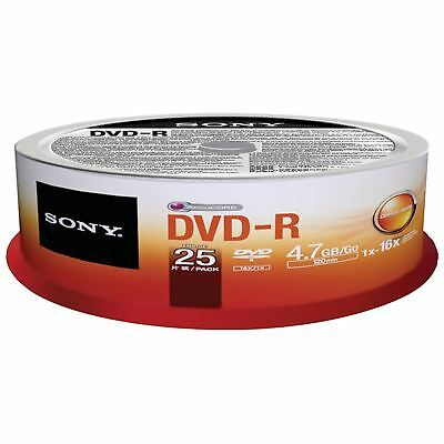 Sony DVD-R 120 Minutes 4.7GB 16X Speed Recordable Blank Discs - 25 Pack Spindle