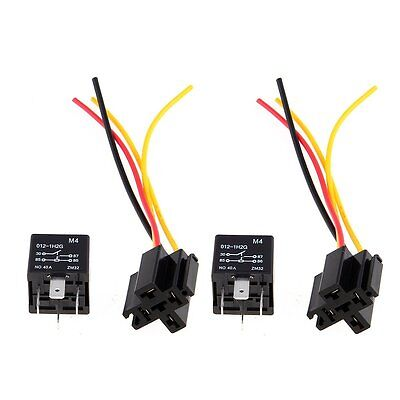 2 x Car Relay Automotive Relay 12V 40A 4 Pin Wire with 5 outlets NEW T8