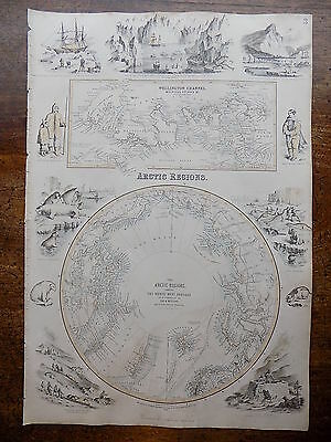 1856 Fullarton Arctic Polar Map Johnson Old Antique Explorers McClure Kane Print