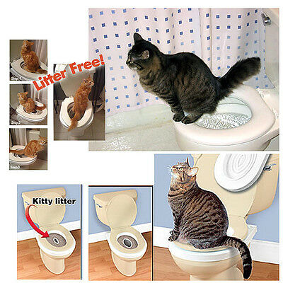 Pet Cat Toilet Training Kit Urinal Kitty Litter Tray Cleaning Portable System AU
