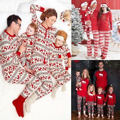 Family Matching Christmas Pajamas Set Adult Womens Mens Baby Kids Pjs Nightwear