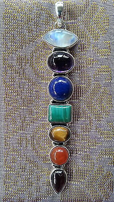 612 Solid 925 Sterling Silver chakra pendant w 7 genuine gemstones RRP $99.95