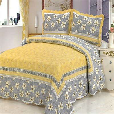 Yellow Bedspread/Coverlet Set New Double/Queen/King Bed Patchwork Quilted Cotton