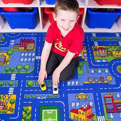 Kids Blue Roads City Toy Map Floor Mat Rug for Cars Play Boys Children Bedroom