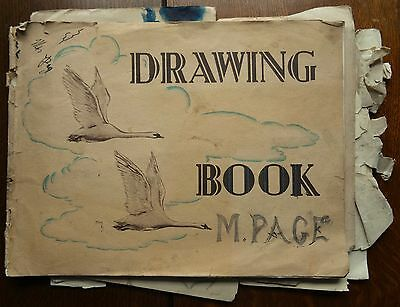 Vintage Child's Drawing Book (Good for scraps or art projects etc) 14 Sketches
