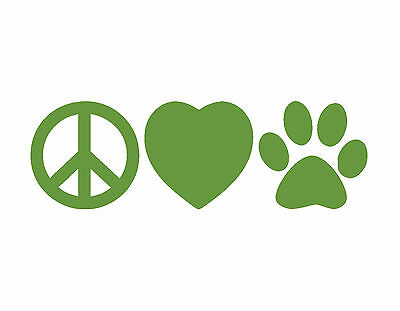 Peace Love Dogs Vinyl Window Decal Lime Green 2X6 Puppy Dog Paw Animals Heart