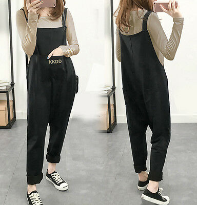 Women Maternity Jumpsuit Loose Pants Overalls Pregnancy Bib Loose Harem Trousers