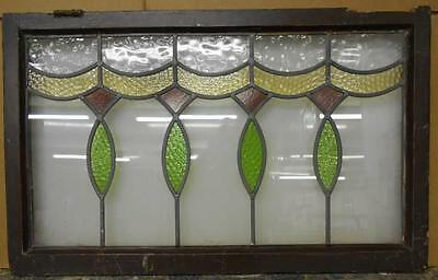"""LARGE OLD ENGLISH LEADED STAINED GLASS WINDOW Beautiful Symetric 32"""" x 19.75"""""""