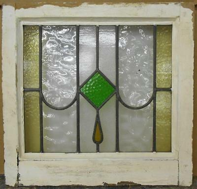 """OLD ENGLISH LEADED STAINED GLASS WINDOW Geometric Drop Design 20.5"""" x 19.75"""""""