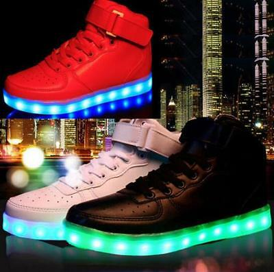 Unisex High Top LED Light Lace Up Sportswear Sneaker Luminous Shoes Casual
