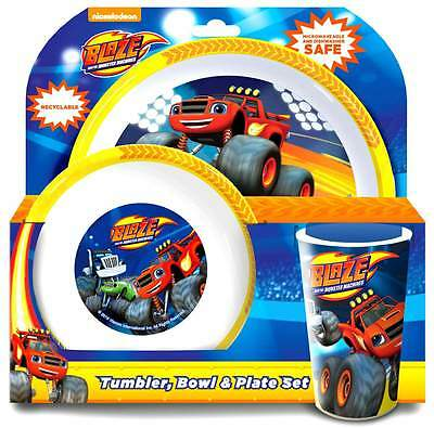 Blaze and the Monster Machines 3-Piece Dinner Set | Tumbler, Bowl and Plate