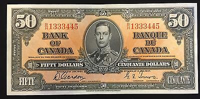 1937 Bank of Canada $50 - S/N: B/H1333445 Gordon - Towers (AU) Condition