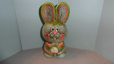 """Adorable Lego Japan Painted Ceramic Bunny Rabbit Bank W/orig Stopper 7.5"""" Tall"""
