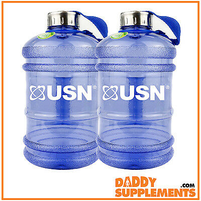 2 USN Water Bottle 2.2L BPA Free Half Gallon BCAA Shaker Gym Sports Fitness Jug