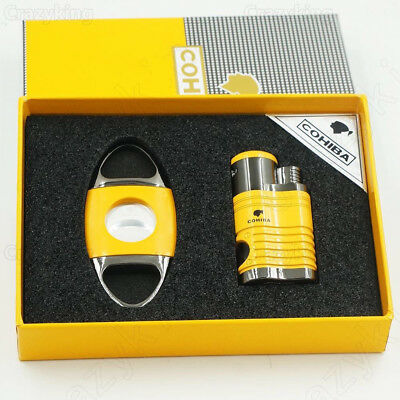COHIBA Yellow Metal Cigar Lighter Cutter Set 4 Torch Jet Flame Lightets W Punch