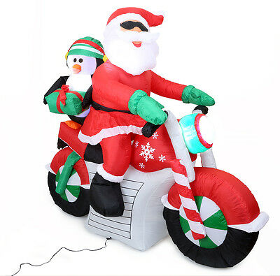 Santa claus with Motorcycle inflatable 140cm high
