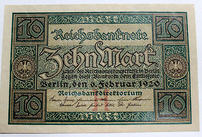 1920  Authentic German 10 Mark note , Berlin  ALMOST UNCIRCULATED GERMANY OLD