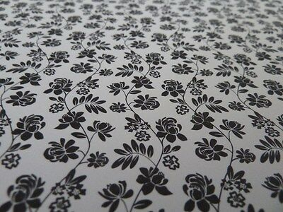 Dolls House Emporium Miniature 1:12 Scale Black Floral Wallpaper
