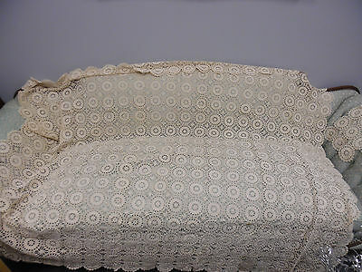 Gorgeous Antique Hand Crochet Creme Tablecloth with 2 Matching Doilies