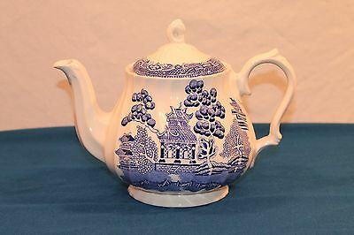 Myott Old Willow White Blue Fine Ironstone Tea Pot & Lid Staffordshire England