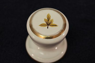 Porcelain Ceramic Door Knob Vintage White Leaf Gold Trim