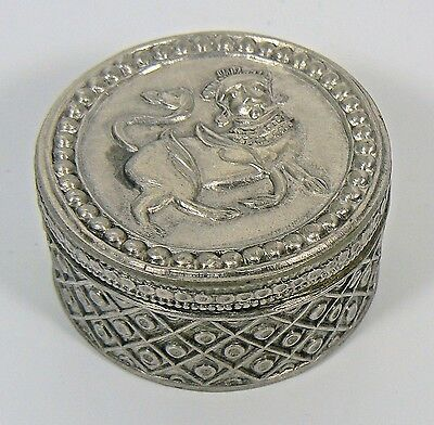 Vintage Sterling Silver Attached Cover Pill Box Egyptian Design