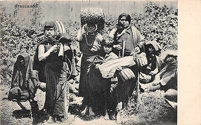 CHILE ~ GROUP OF MAPUCHE INDIAN WOMEN & CHILDREN WITH POSSESSIONS ~  c. 1902