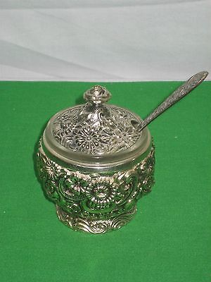 Vintage Silverplated Sugar Bowl with Glass Insert and Spoon Ornate Japan