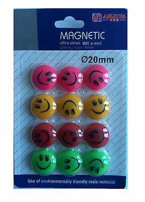 12 x Fridge Magnet  Novelty Cute Fun Colourful Smiley Face Magnets Children Gift