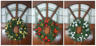 """16"""" Decorated Christmas Decor Door Wreath With Berries/baubles And Pine Cones"""