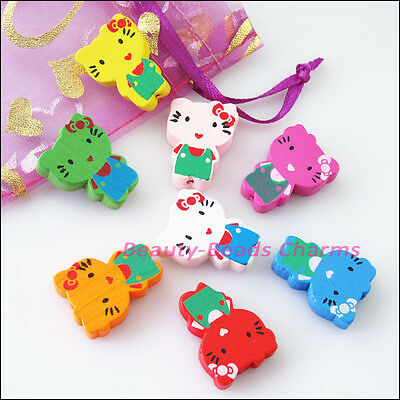 15Pcs Mixed Craft Wood Wooden Animal Cat Spacer Beads Charms 18x24mm