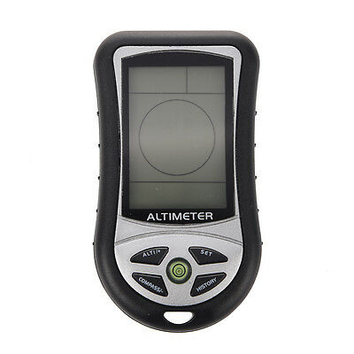 Function Digital LCD Compass Altimeter Barometer Thermo Temperature (Black) T8
