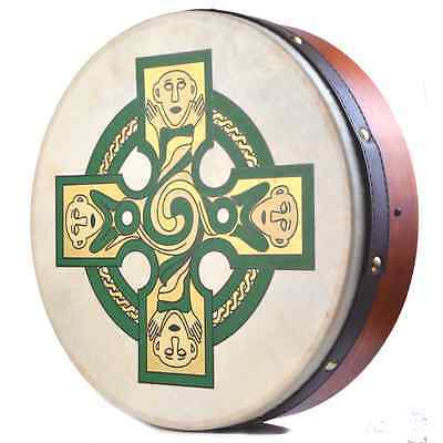 "Waltons Irish Celtic Cross Goatskin Bodhran 18"" - Island Turf Crafts"