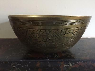 Antique Chinese Large Brass Bowl Engraved with Dragon and Bird Design