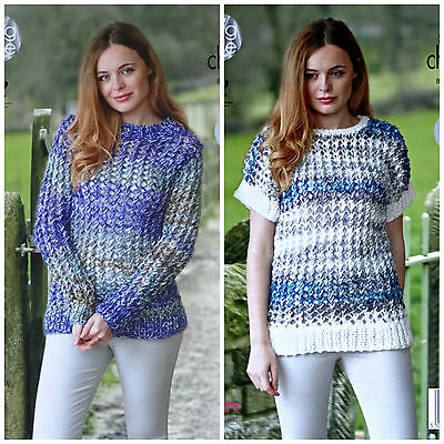 KNITTING PATTERN Ladies Easy Knit Lacy Jumper and Tunic Super Chunky 4756